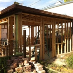 A new wood frame under the existing metal roof