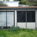 The studio was an aluminum kit building with cardboard walls